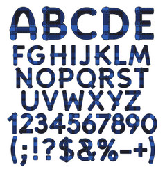 alphabet letters from blue cloth tartan vector image vector image