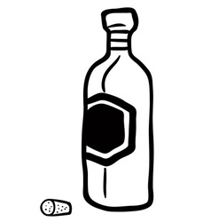 black and white bottle vector image vector image