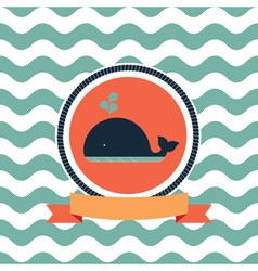 card of the sea whale vector image vector image