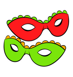 Carnival masks icon cartoon vector