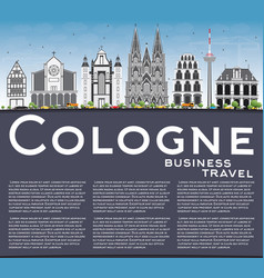 Cologne skyline with gray buildings blue sky and vector