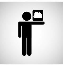 concept globe social media cloud vector image