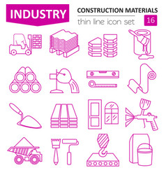 Construction and finishing materials icon set vector