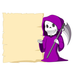 Cute grim reaper with blank sign vector