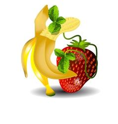 Dancing banana and strawberries vector