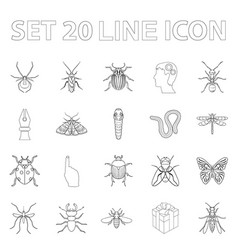 Different kinds of insects outline icons in set vector
