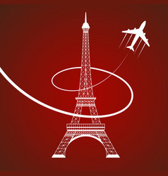 Eiffel tower on red vector