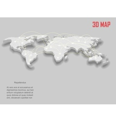 Elegant gray 3d world map vector