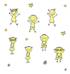 funny and sad doodle children hand drawn vector image