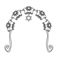 Graphic chuppah arch a religious jewish wedding vector