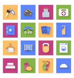 Hotel flat icons set with shadows vector