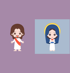 Jesus and mary cute character flat design vector