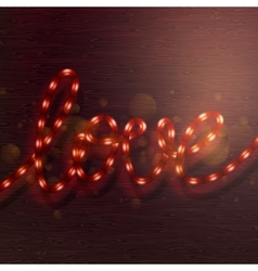 Love lighted up in red neon colors eps 10 vector