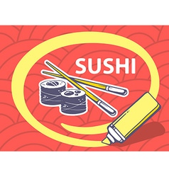 marker drawing circle around sushi on red vector image vector image