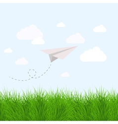 Modern grass with oragami airplane eps10 vector