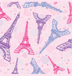 pink blue eifel tower paris seamless repeat vector image vector image