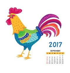 roosters calendar september vector image vector image
