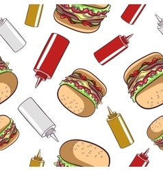 Seamless Pattern Fast Food Hamburger vector image