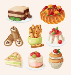 Set of italian desserts vector