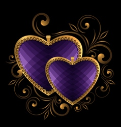 Violet faceted hearts vector