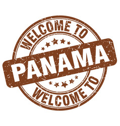 Welcome to panama brown round vintage stamp vector