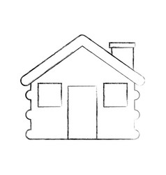 Wooden cabin house chimney camp exterior vector