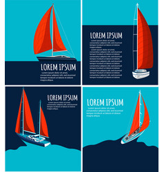 Yacht club flyer design with sail boat vector