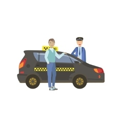 Man Passenger And Driver Standing Next To Black vector image