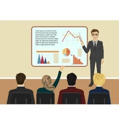 Young businessman giving presentation vector