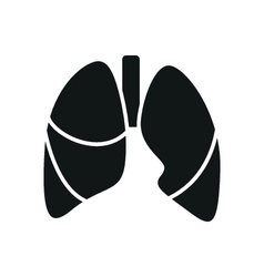 Black simple medical lungs icon isolated vector