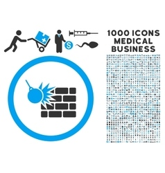 Wall destruction icon with 1000 medical business vector