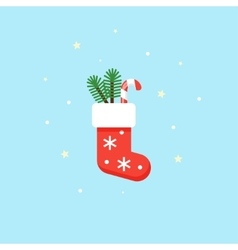 Christmas red sock with gifts inside - vector