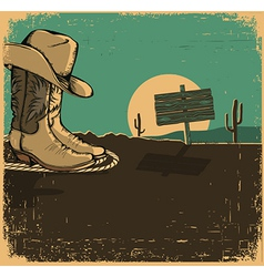 Western with cowboy shoes and desert landscape on vector
