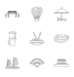 Attractions of vietnam icons set outline style vector