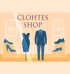 Flat design restaurant clothes shop facade icon vector