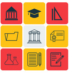 set of 9 school icons includes diploma document vector image