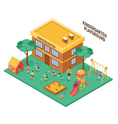 Kindergarten isometric composition vector
