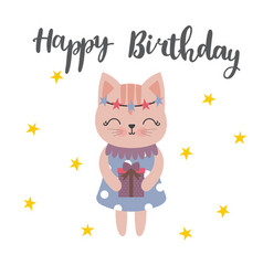 Cute postcard happy birthday with lovely kitty vector