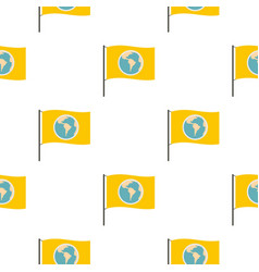 yellow flag with the image of the globe pattern vector image