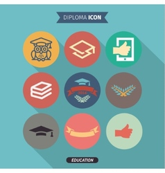 Icons of education and intelligence in flat style vector
