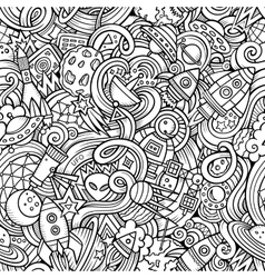 Cartoon hand-drawn doodles on the subject of space vector