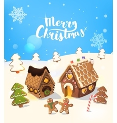 Cristmas background with gingerbread house vector