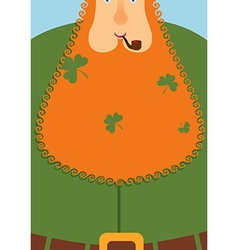 Good leprechaun portrait of cheerful old man with vector