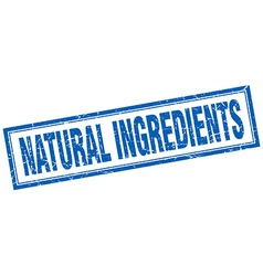 Natural ingredients blue square grunge stamp on vector