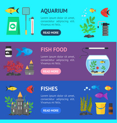 aquarium banner horizontal set vector image