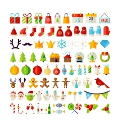 Big set merry christmas objects vector