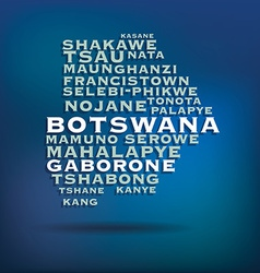 Botswana map made with name of cities vector image vector image