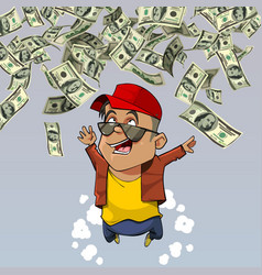 Cartoon happy man falling from above dollars vector
