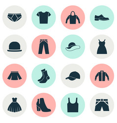 Clothes icons set collection of elegance dress vector
