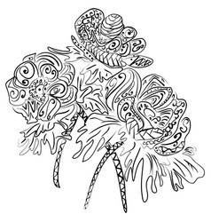Doodle art flowers zentangle anemones pattern vector